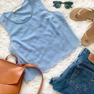 The Impeccable Pig Scalloped Tank Baby Blue